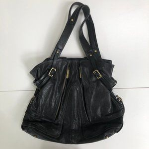 Kooba Leather Carry All Tote Bag Exterior Zippers